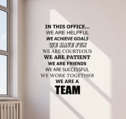 In This Office We Are A Team Wall Decal Teamwork Office Quote Gift Inspirational  Sayings Lettering