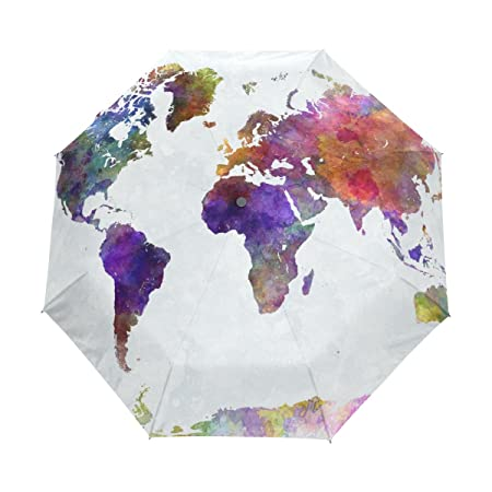 Lavovo watercolor colorful world map umbrella double sided canopy lavovo watercolor colorful world map umbrella double sided canopy auto open close foldable travel rain umbrellas amazon sports outdoors gumiabroncs Gallery