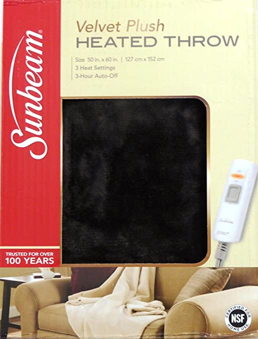 Sunbeam Velveteen Plush Heated Throw with 3 Hour Auto-Shut Off and Heat Settings