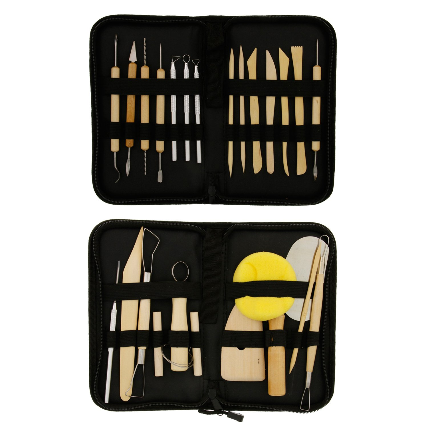US Art Supply 26-Piece Pottery & Clay Sculpting Tool Sets with Canvas Cases PTS-0104