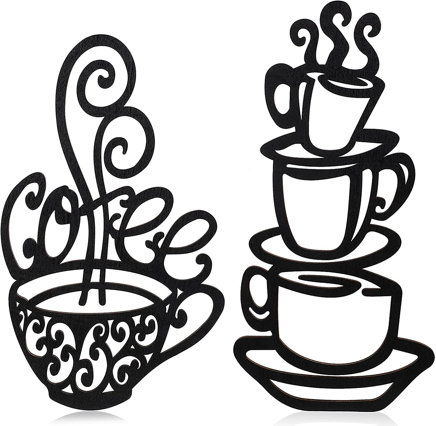 2 Pieces Metal Coffee Cup Wall Decor Black Coffee Cup Silhouette Metal Wall Art Cafe Themed Wall Art Cup Mug Scrolled Silhouette Metal Wall Art Decor for Coffee Shop, Kitchen, Restaurant