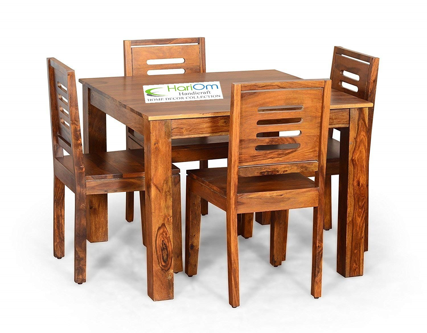 Hariom handicraft sheesham wood wooden dining set 4 seater dining table with chairs natural teak finish amazon in home kitchen