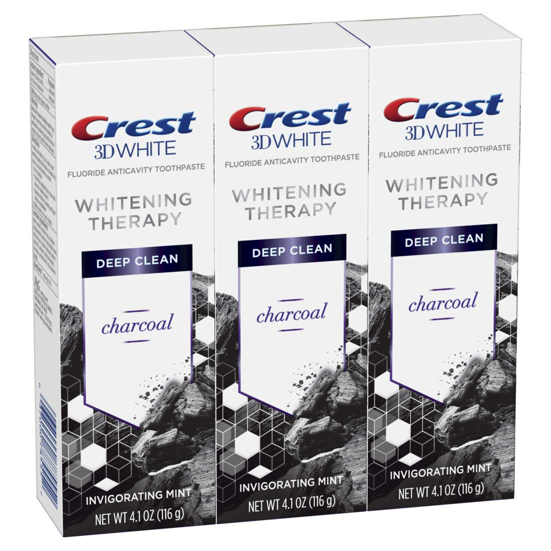 Crest Charcoal 3D White Toothpaste, Whitening Therapy Deep Clean with Fluoride, Invigorating Mint, 4.1 Ounce, Pack of 3