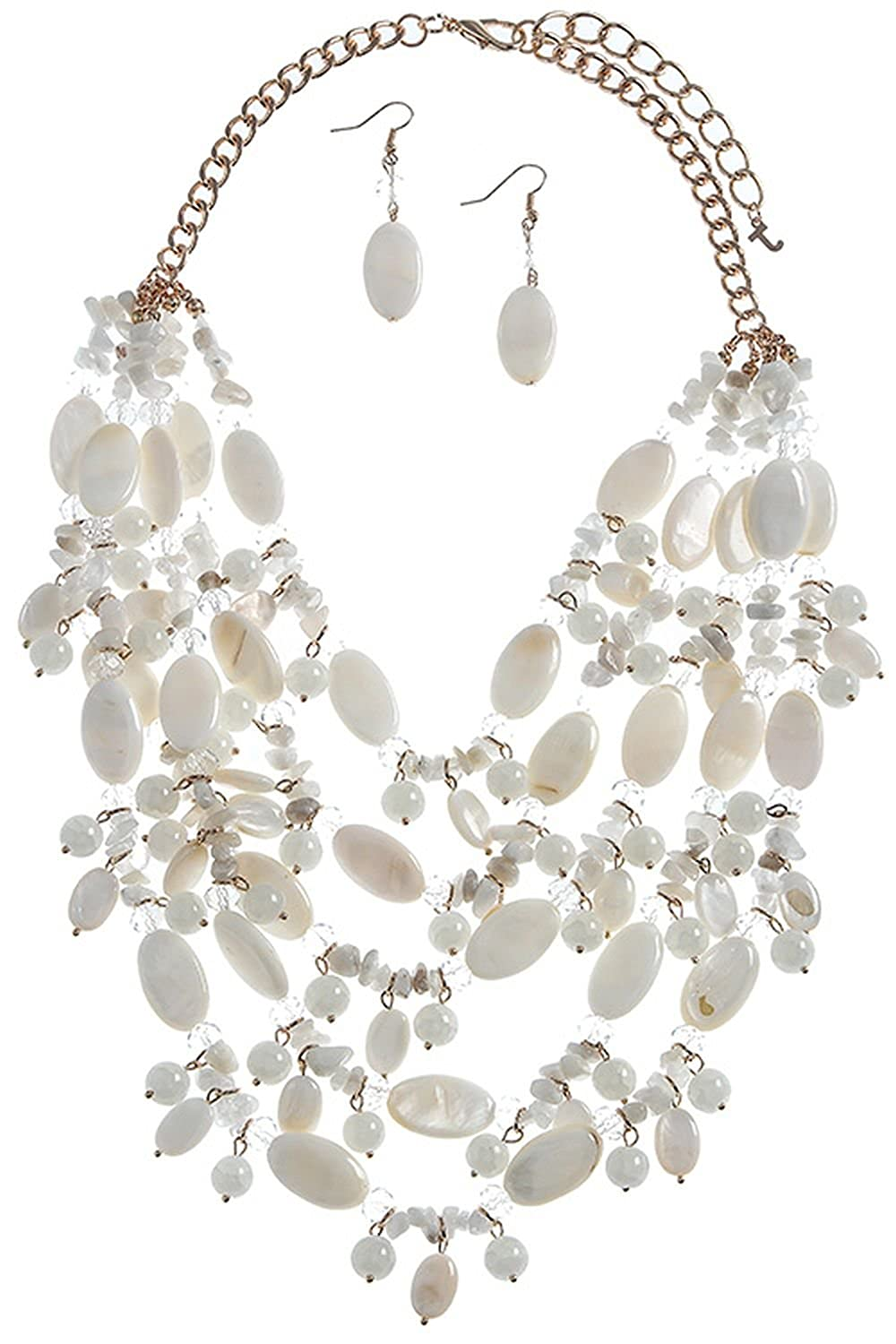 KARMAS CANVAS MIXED BEAD SHELL ACCENT NECKLACE SET