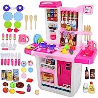 deAO My Little Chef Cucina Playset con Suoni, Pannello Touchscreen e Caratteristiche d'Acqua - Più di 40 Accessori Inclusi (Rosa)