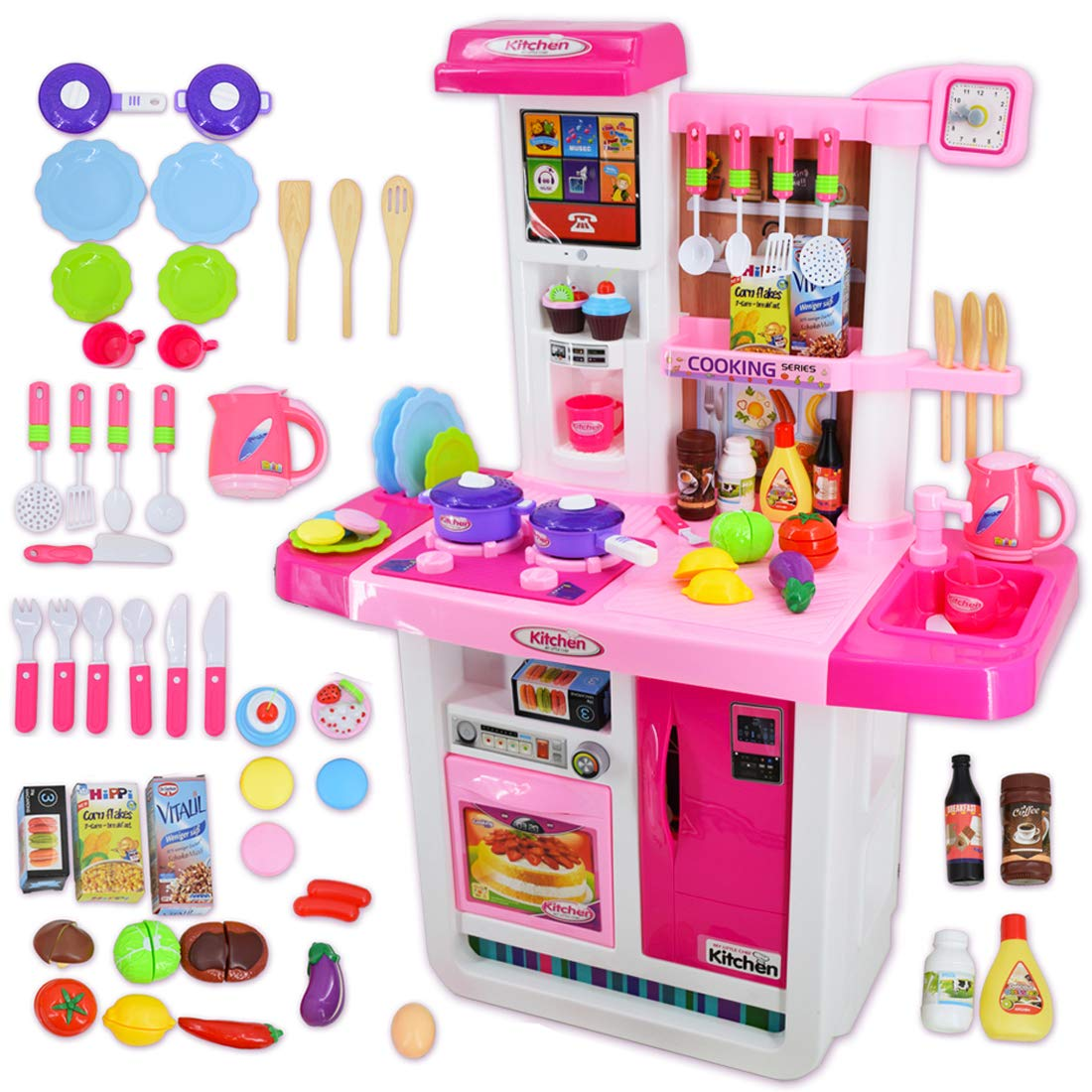 deAO My Little Chef Kitchen Playset with Sounds, Touchscreen Panel and Water Features - More Than 40 Accessories Included