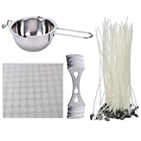 Buytra Candle Making Kit Includes Double Boiler Pot 100 Pack Prewaxed Candle Wicks 100 Pack Wick Stickers Dots with Wick Centering Device