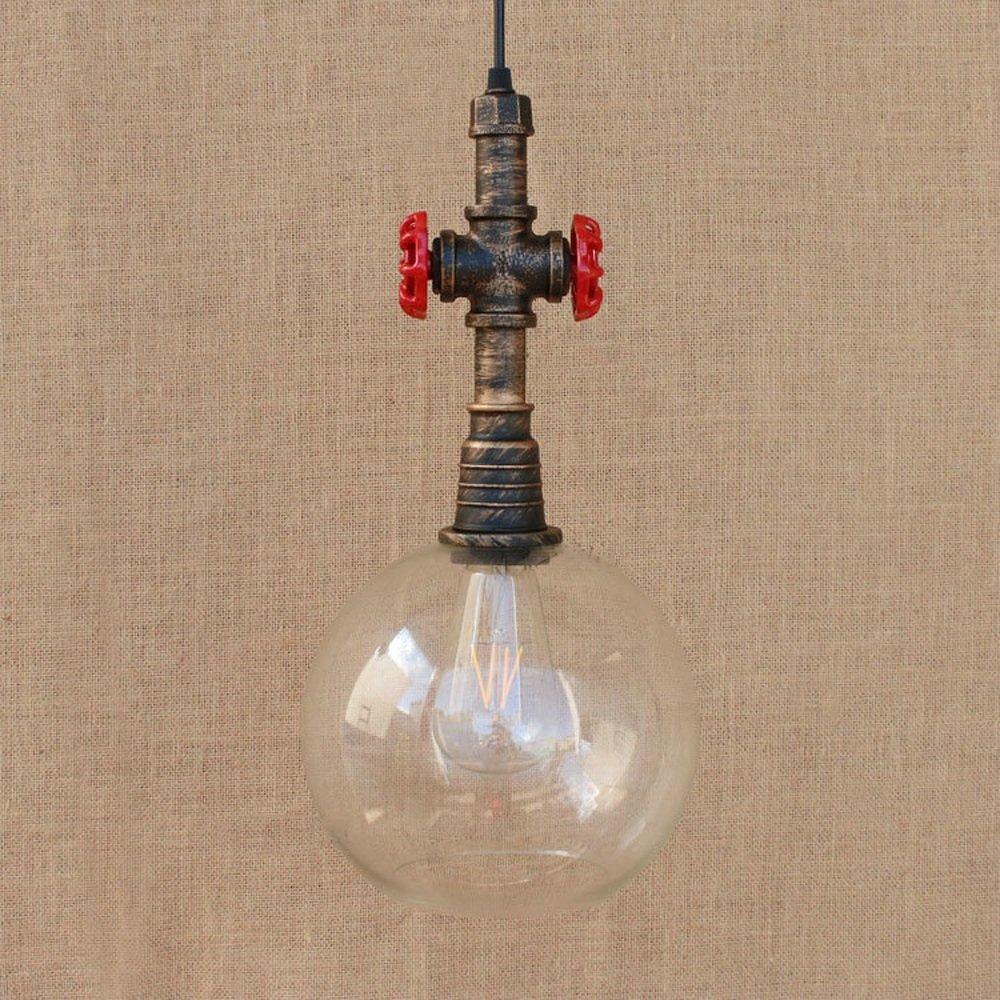 IBalody Vintage Kreative Wasserpfeife Glaskugel E27 Deckenleuchten Retro Industriemetalleisen Pendelleuchten Schlafzimmer Nacht Gang Treppen Restaurant Dekorativer Kronleuchter (Größe   30CM)