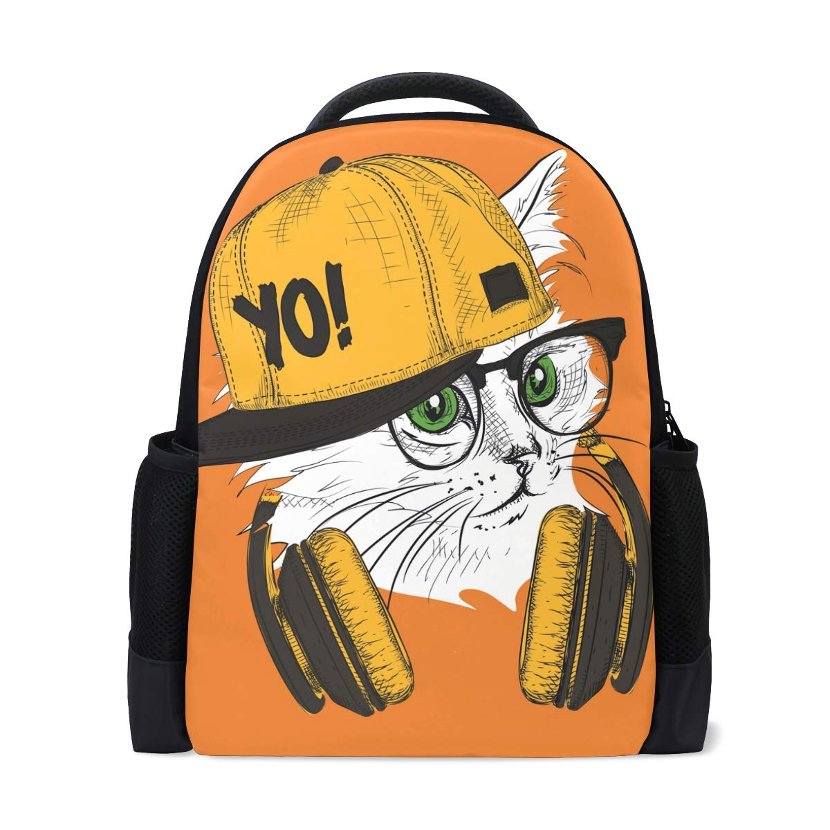 Conelia Creative Lively Hip Hop Cat Illustration Polyester Backpack School Travel Bag Cat Gifts Cat School Bag Cat Lover