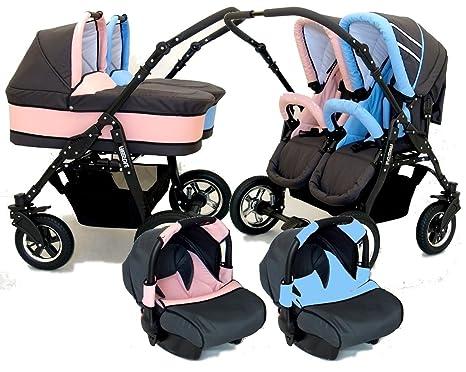 Carro gemelar 3en1. 2 capazos + 2 sillas + 2 grupo 0 + accesorios (azul+rosa)