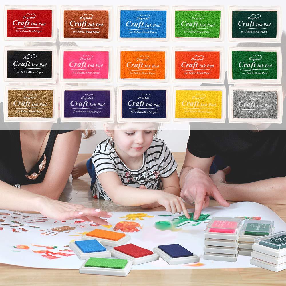 Pomisty tampone per timbri con impronte digitali Set di 15 colori, tampone per timbri colorati per carta artigianale, tessuto, impronte digitali, scrapbook, pittura, matrimonio, bambini, compleanni