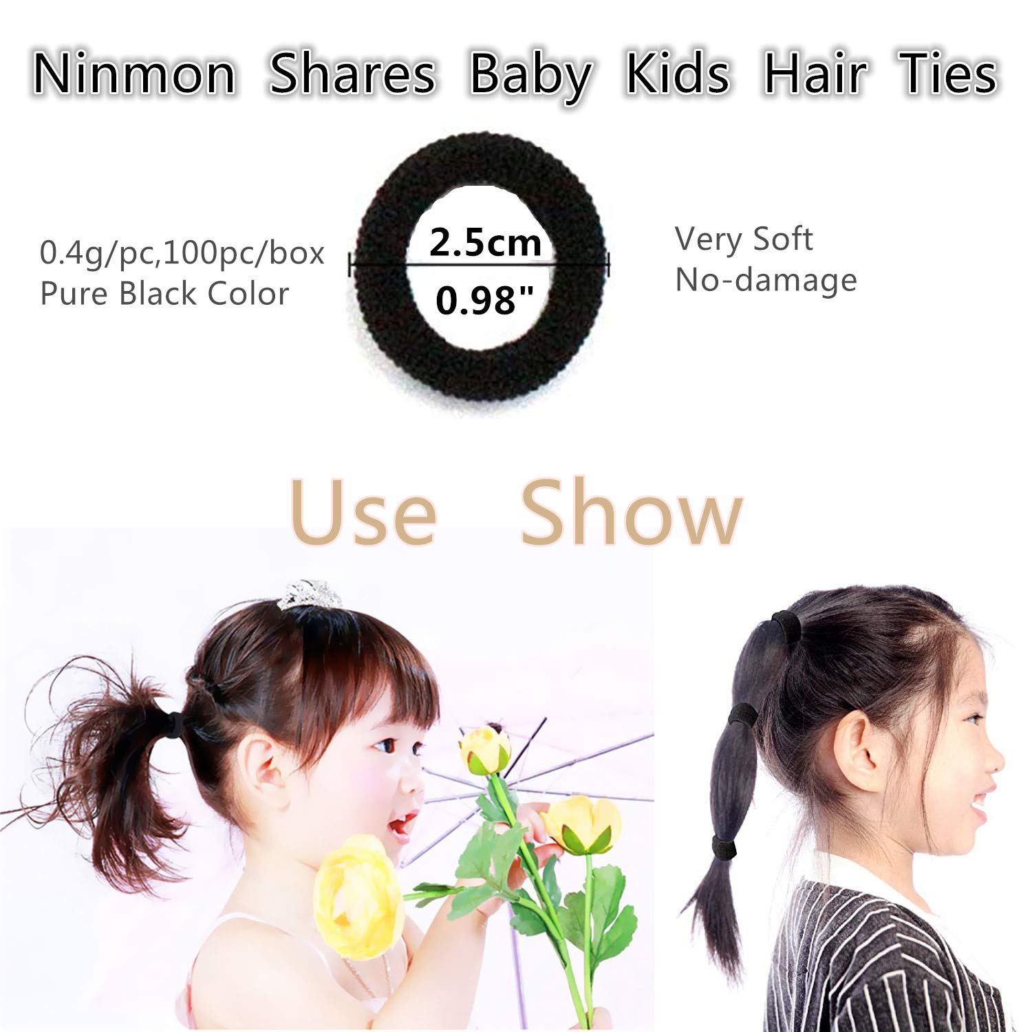 100PC Toddlers Baby No Hurt Hair Ties Kids Seamless Hair Bands Ponytail Holder A-Black