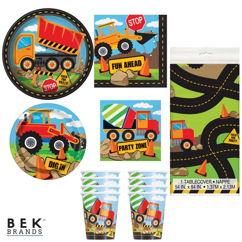 Bek Brands Boy's Birthday Party Truck Construction Bundle Plates, Napkins, Cups and Tablecover - 57 pieces!