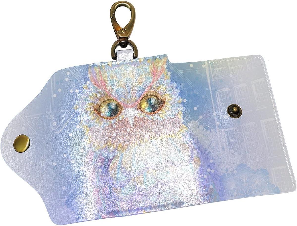 DEYYA Watercolor Owl Leather Key Case Wallets Unisex Keychain Key Holder with 6 Hooks Snap Closure