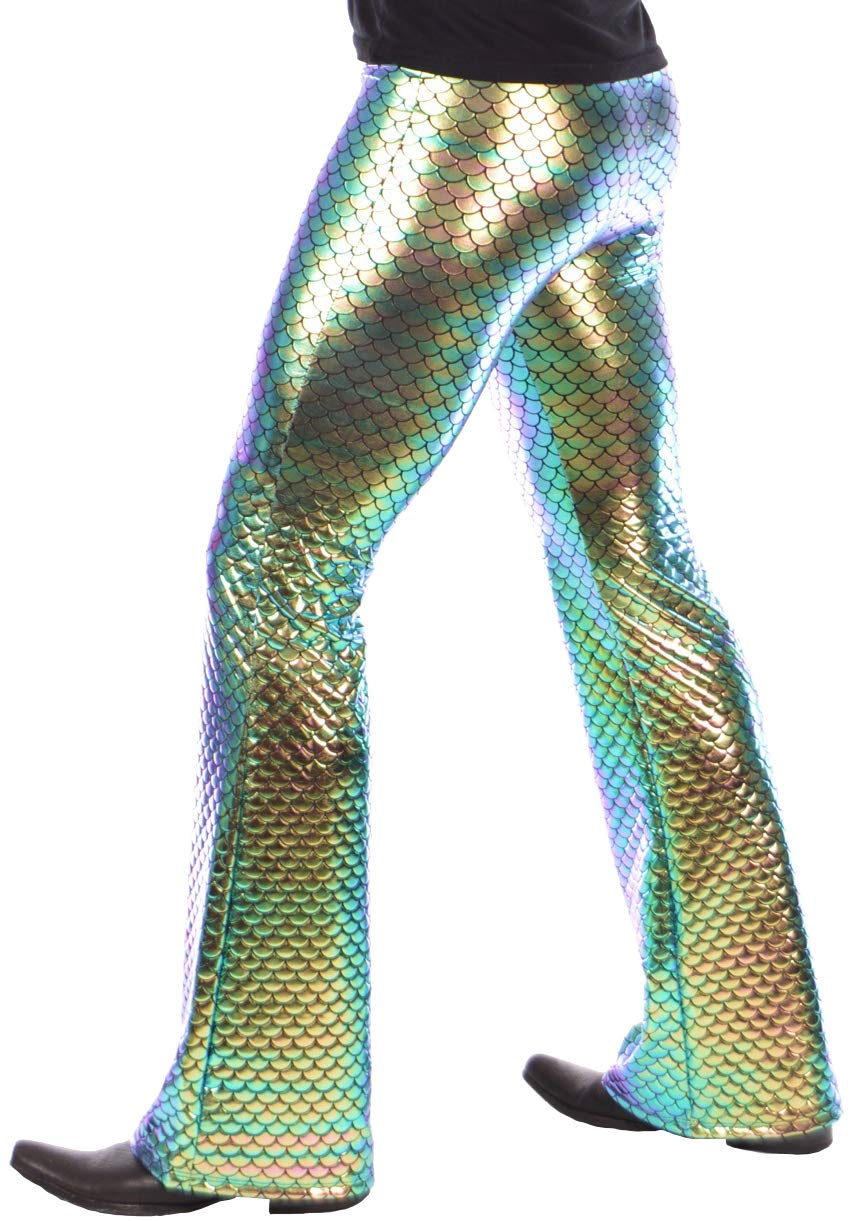 Mermaid Flare Pants: USA Made Holographic Men's Bell Bottom Flared Pants (Medium, Green Mermaid) by Revolver Fashion