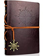Travel Journal Notebooks, Vintage PU Leather Note Book, Quality Paper, No Lines, Thick and Smooth to Write in, A6 Refillable Notebook, 7 by 5 Inches, 80 Sheets(Coffee)