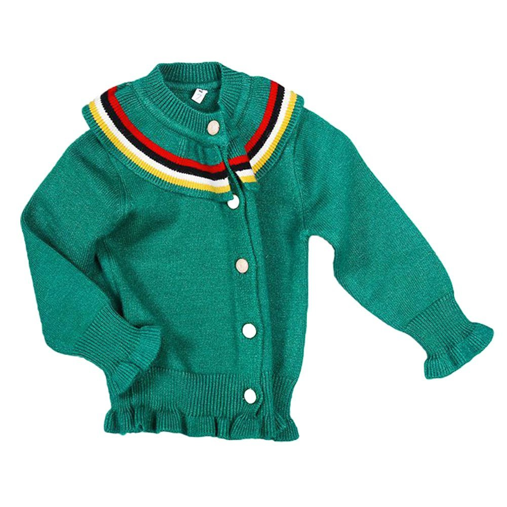 LOSORN ZPY Baby Girl Sweater Cotton Ruffle Kids Button-Down Closure Rainbow Collar Cardigan
