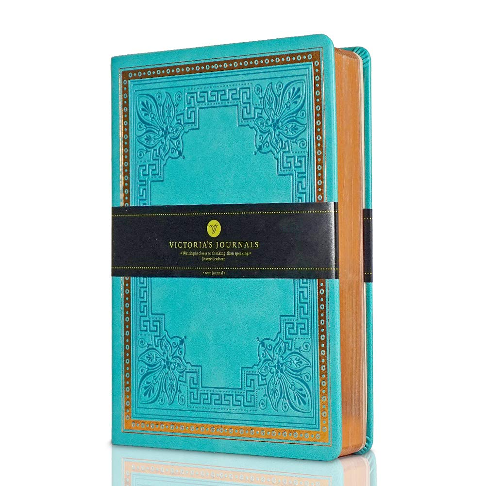 VICTORIA'S JOURNALS Leatherette Vintage Journal Hard Cover Lined Notebook Old Looking Travel Diary, 5.7'' x 8.1'' (Teal (Full Gilt Edge))