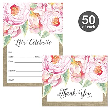 Amazon Com All Occasion Invites Matching Thank You Cards Set With