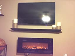 Touchstone 80001 Onyx Wall Mounted Electric Fireplace 50 Inch Wide Logset