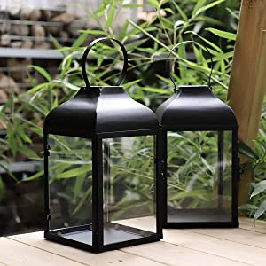 2 Packs 6 x 6 x 11.5 inches Decorative Candle Lantern Black Metal & Glass Paneled Tabletop Lanterns Candle Holders Indoor Outdoor Use, Garden Hanging Party Decor,Set of 2