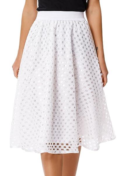585122272 GRACE KARIN Women's A-line Party Wedding Flared Skater Skirt Size 2XL White