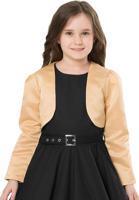 BlackButterfly Kids Satin Long Sleeve Bolero Childrens Girls Shrug