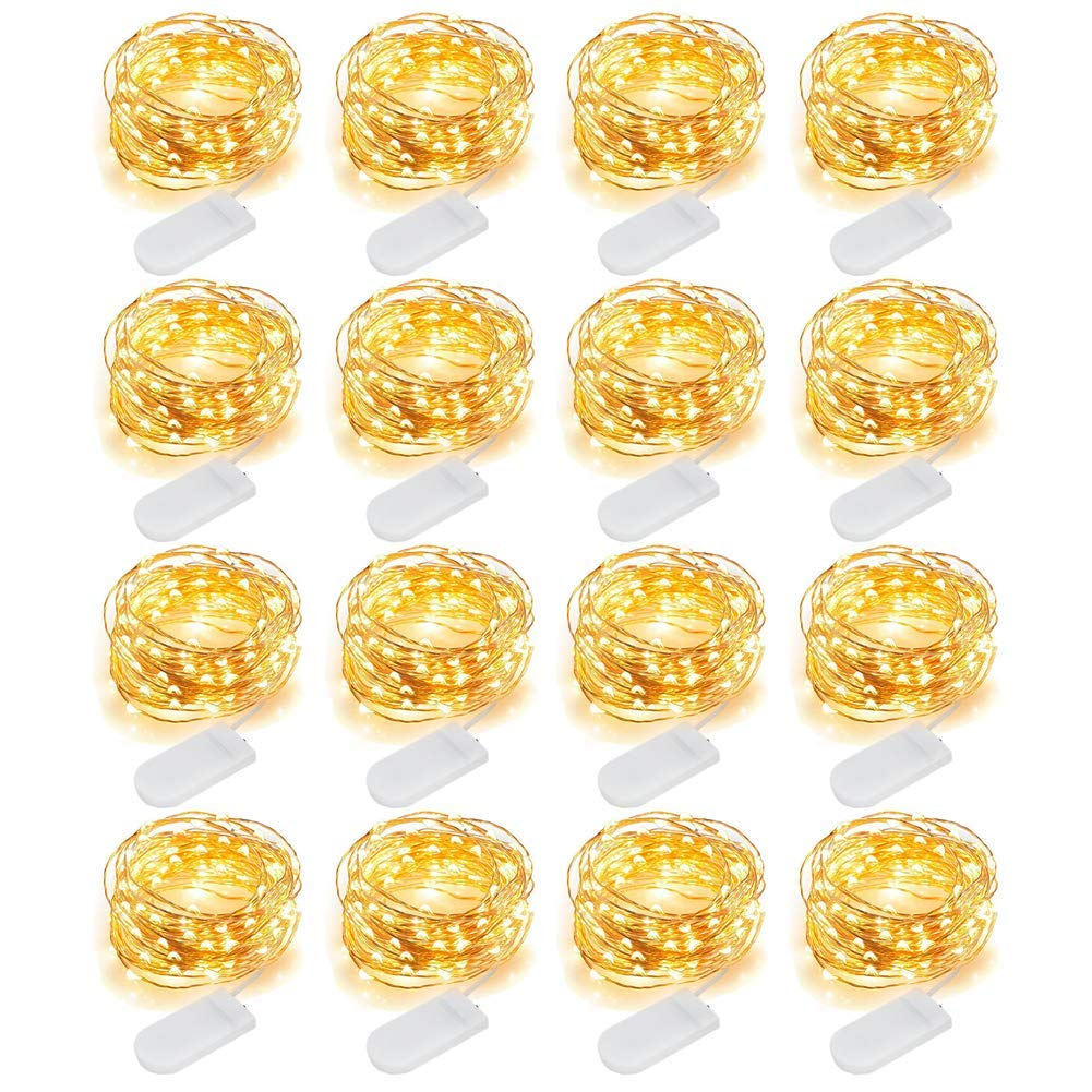 MJMIX 16 Pack Fairy Lights Battery Operated (Included) 10ft 30 LED Mini String Lights Waterproof Copper Wire Firefly Starry Lights for DIY Wedding Party Jars Christmas Decorations, Warm White