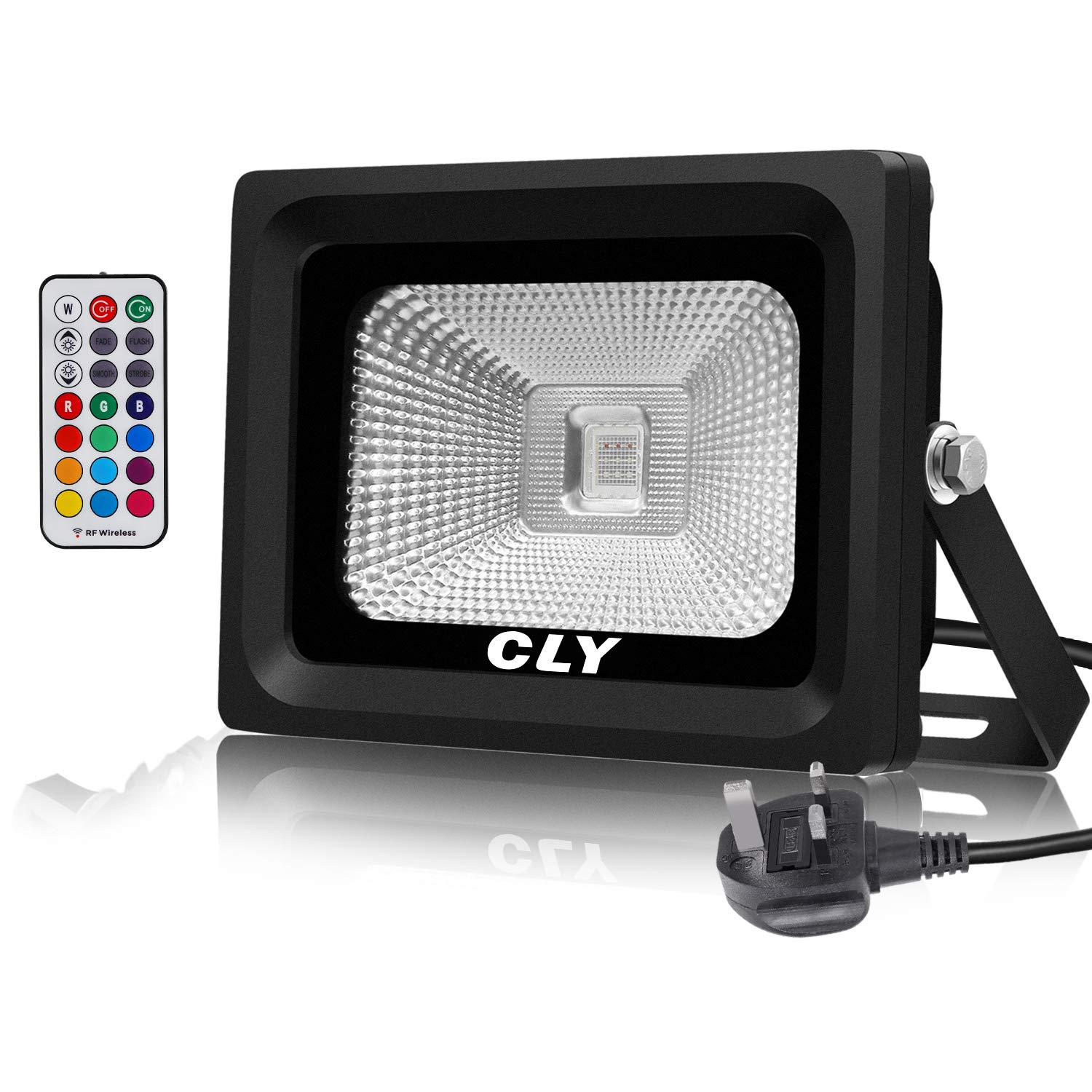 CLY 10W RGB Flood Lights, Colour Changing Lights with Remote Control, 4 Modes 16 Colours Light, Dimmable Party Lights, Waterproof LED Decking Spotlight for Halloween,Christmas,Garden