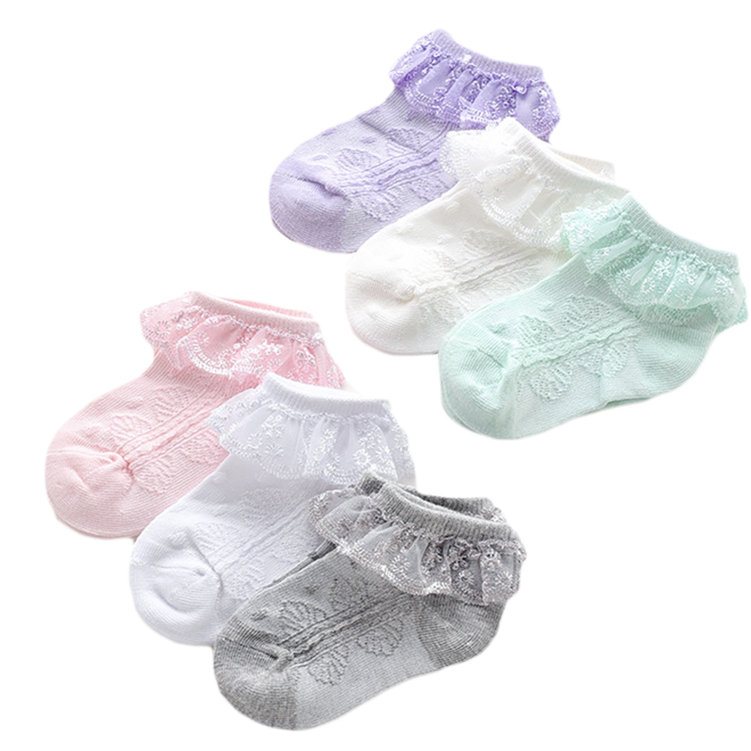 6 Pairs Lace Ankle Socks Baby Girl Pointelle Ruffled Cotton Socks For Infant & Toddler & Kid White/Off-White/Pink/Grey/Purple/Green for 1-2 Years