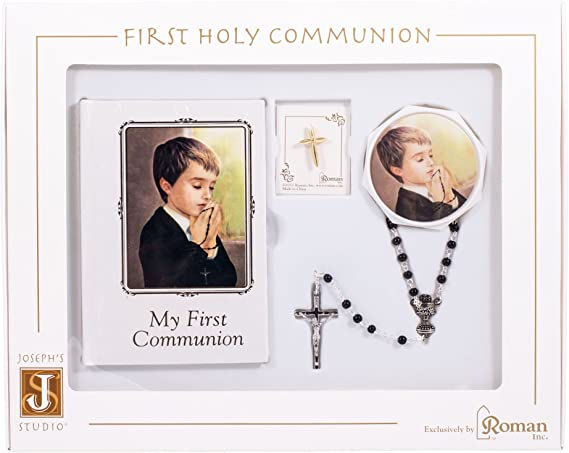 My First Holy Communion Boys Gift Set with Prayer Book and Chalice Pendant Rosary