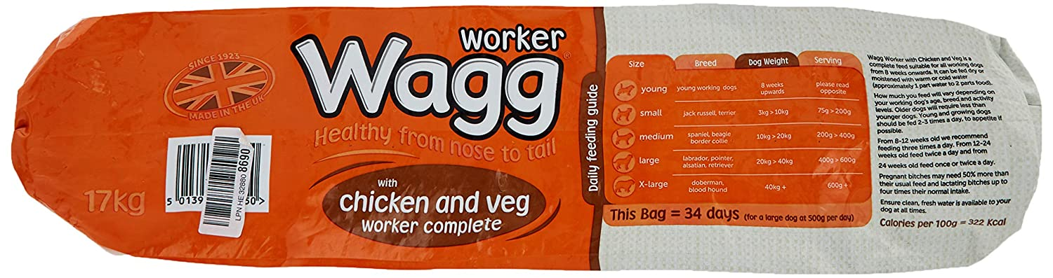 Wagg Complete Worker Chicken and Vegetables Dry Mix Dog Food 17 kg