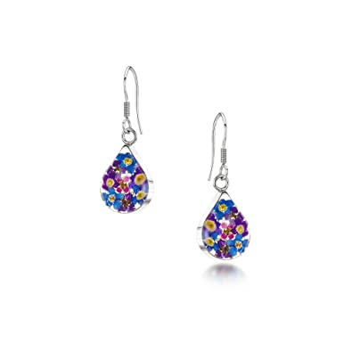 Sterling Silver Real Flower Stud Earrings - Forget-Me-Not - Round - in giftbox oMDaO9dwH0