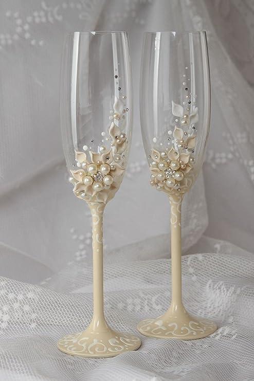 Copas de boda hechas a mano de cristal elementos decorativos regalo original: Amazon.es: Hogar