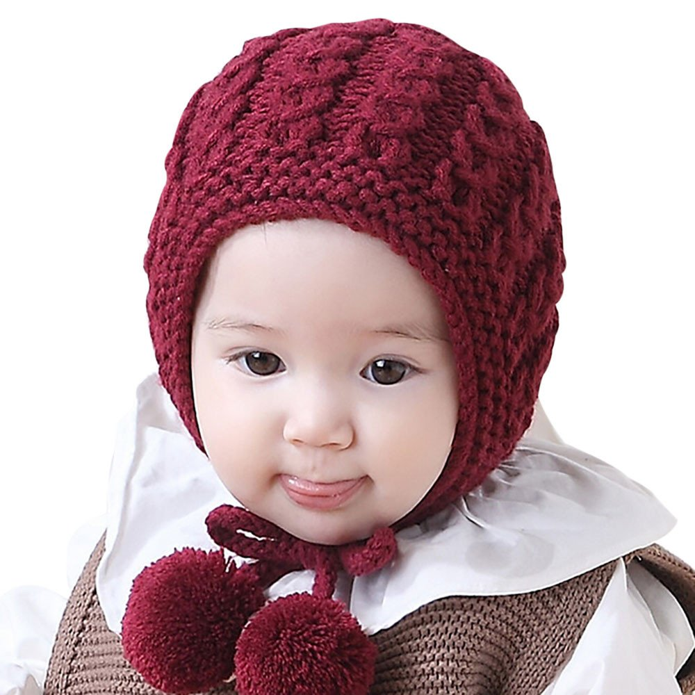 Baby Beanie, JoyJay Baby Knitted Hats Ear Flaps Winter Kids Girls Boys Cute Fox Warm Woolen Coif Hood Scarf Hemming Caps JoyJay Baby Beanie