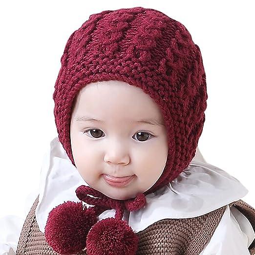 aee8c25376a Iuhan Handmade Baby Boys Girls Earflaps Cap Kids Knitting Winter Warm Ball  Hats (Red)