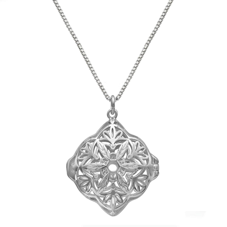 Lisa Hoffman Fragrance Necklace with a Diamond Shaped Filigree Locket