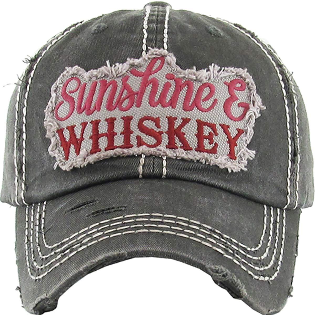 Kbethos Trading Women's Sunshine & Whiskey Vintage Baseball Hat Cap (Black)