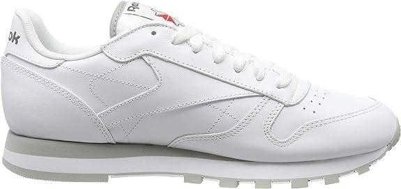 Reebok Classic Leather - Zapatillas de cuero para hombre, color blanco (int-white / lt. grey), talla 45: Amazon.es: Zapatos y complementos