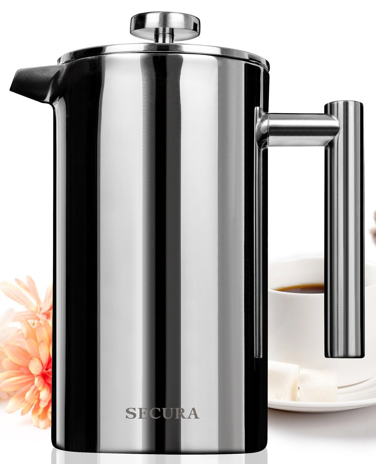 Secura Stainless Steel French Press Coffee Maker 18/10 Bonus Stainless Steel Screen (1500ML)