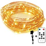 Led String Lights Dimmable Copper Wire Starry Light, 33ft, UL certified 5v Power Adapter For Christmas Wedding and Party suitable for indoors or outdoors Updated Remote Controller