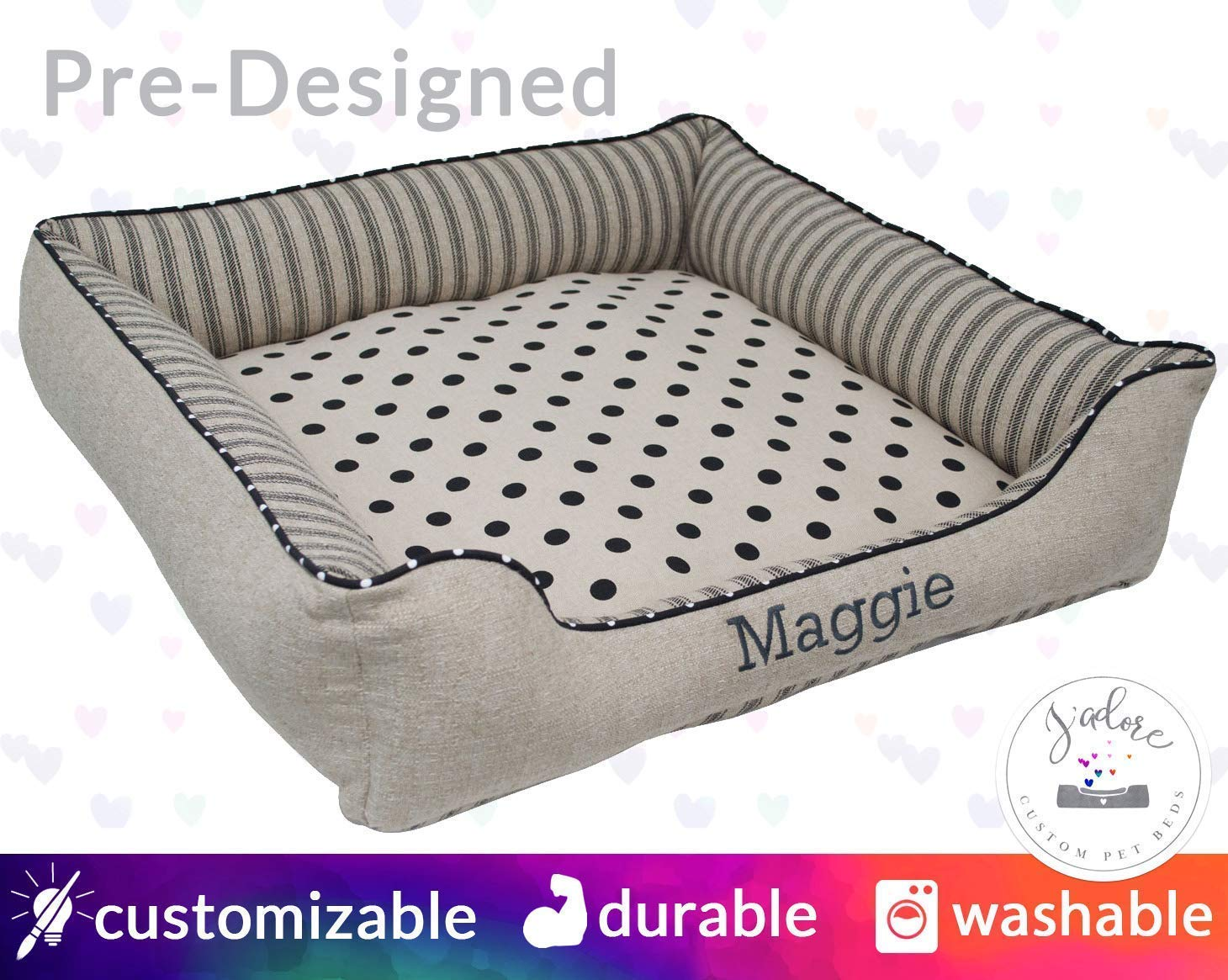 Neutral Dog Bed Personalized Pet Bed | Ticking Polka Dot Black Natural Linen | Name Embroidery Washable