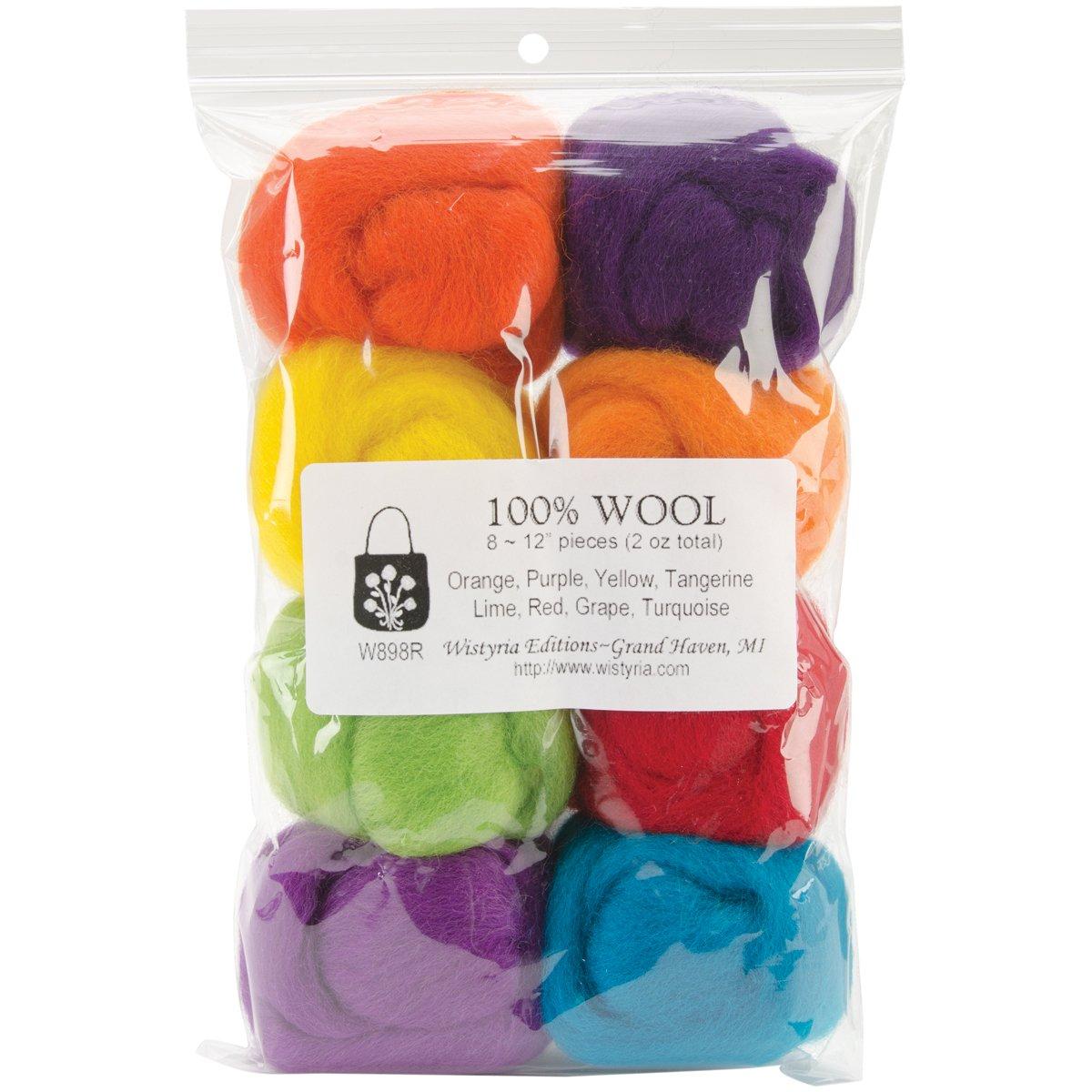 Wistyria Editions Wool Roving, 12-Inch, Fiesta, 8-Pack