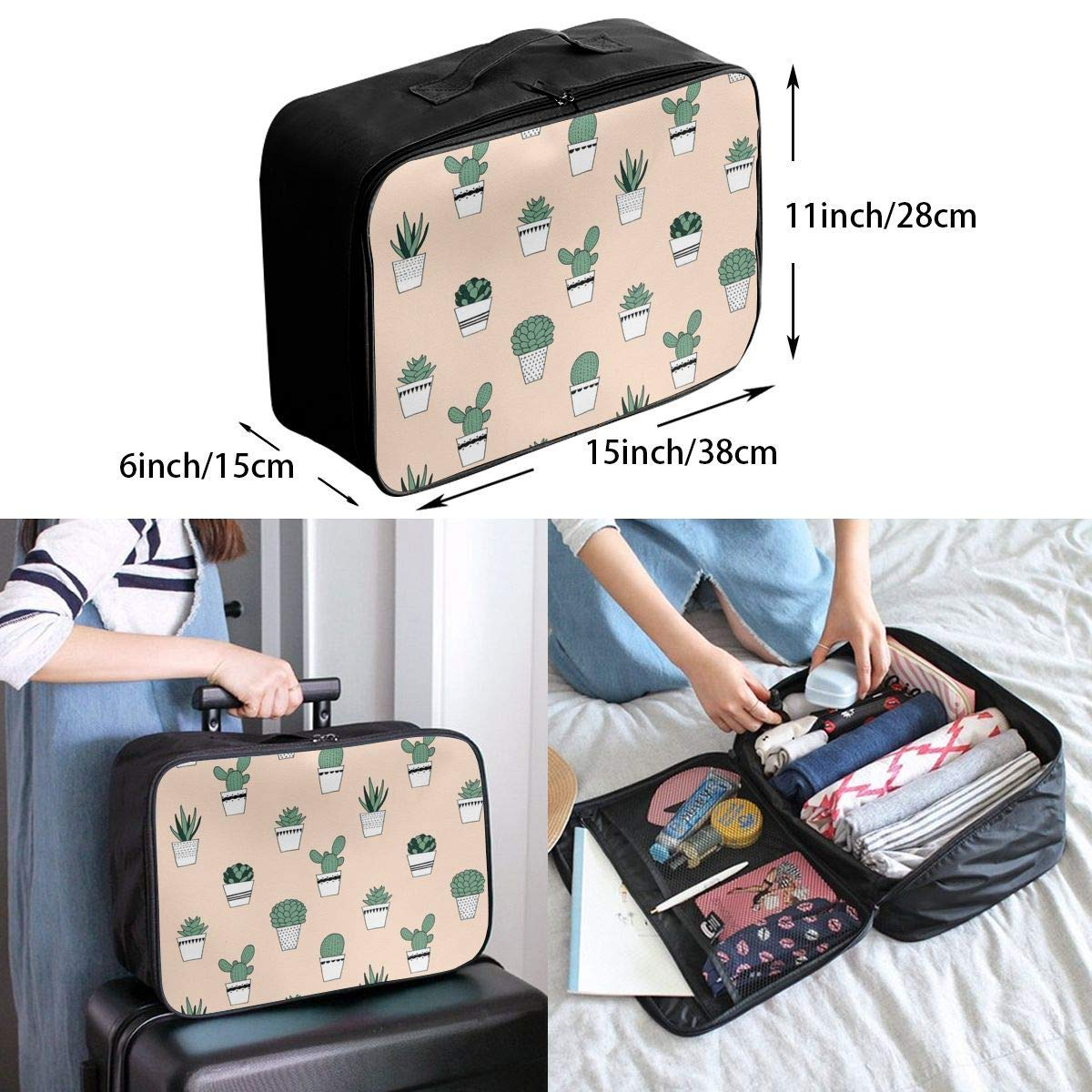 JTRVW Luggage Bags for Travel Travel Duffel Bag Waterproof Fashion Lightweight Large Capacity Portable Duffel Bag for Men /& Women Potted Succulents