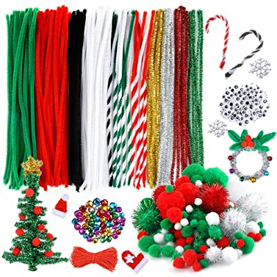 Caydo 400 Pieces Christmas Pipe Cleaners Sets, Including 120 Pcs Pipe Cleaners, 130 Pcs Pom Poms,100 Pcs Wiggle Eyes and 50 Pcs Mixed Color Jingle Bells for Festival Decoration DIY Craft: Arts, Crafts & Sewing