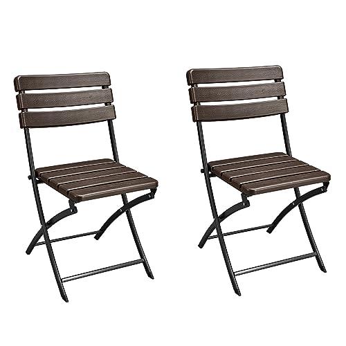 Homebeez Folding Bistro Outdoor Patio Rattan Table Brown Brown Chair