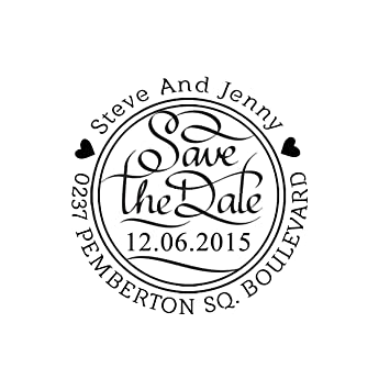 Custom Round Rubber Stamp Save The Date Personalized Invitation Self Ink Stamper Gift