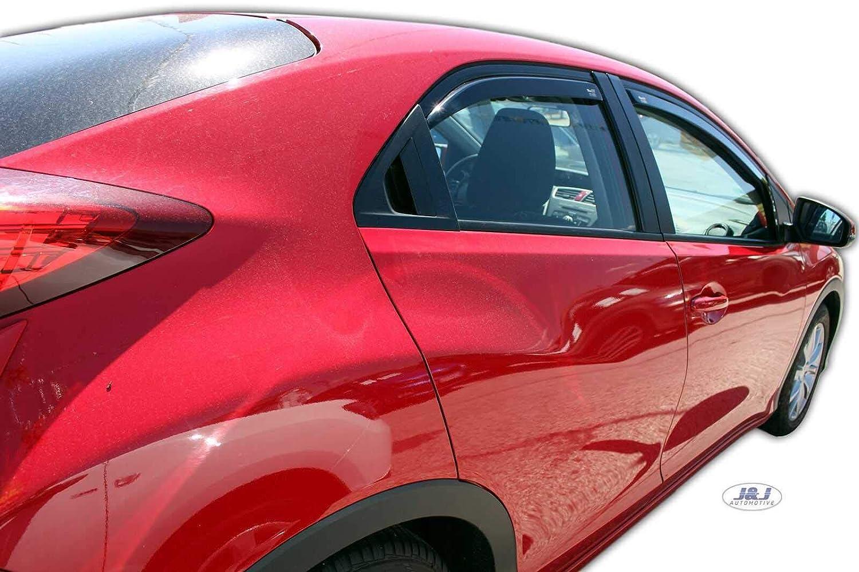 J/&J AUTOMOTIVE Deflecteurs dair d/éflecteurs de Vent Compatible avec Honda Civic 5 Portes Hatchback 2012-2016 4 pi/èces