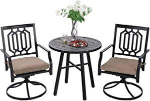 MFSTUDIO Classical Wrought Iron Patio Bistro Set,3 Piece Outdoor Dining Furniture with 2 Metal Swivel Chairs and 1 x Round Table for Yard,Black