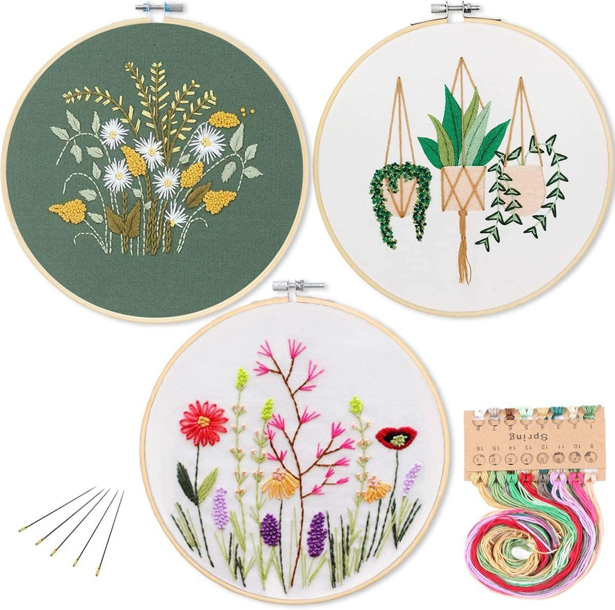 3 Pack Cross Stitch Set with 3 Patterns Ideal for Beginner /& All Embroidery Lovers KATUMO Embroidery Starter Kit Color Threads Tools Kit Full Range of Stamped Embroidery Kits with A Embroidery Hoop